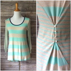 Charming Charlie Teal Striped LS Shirt WELL WORN